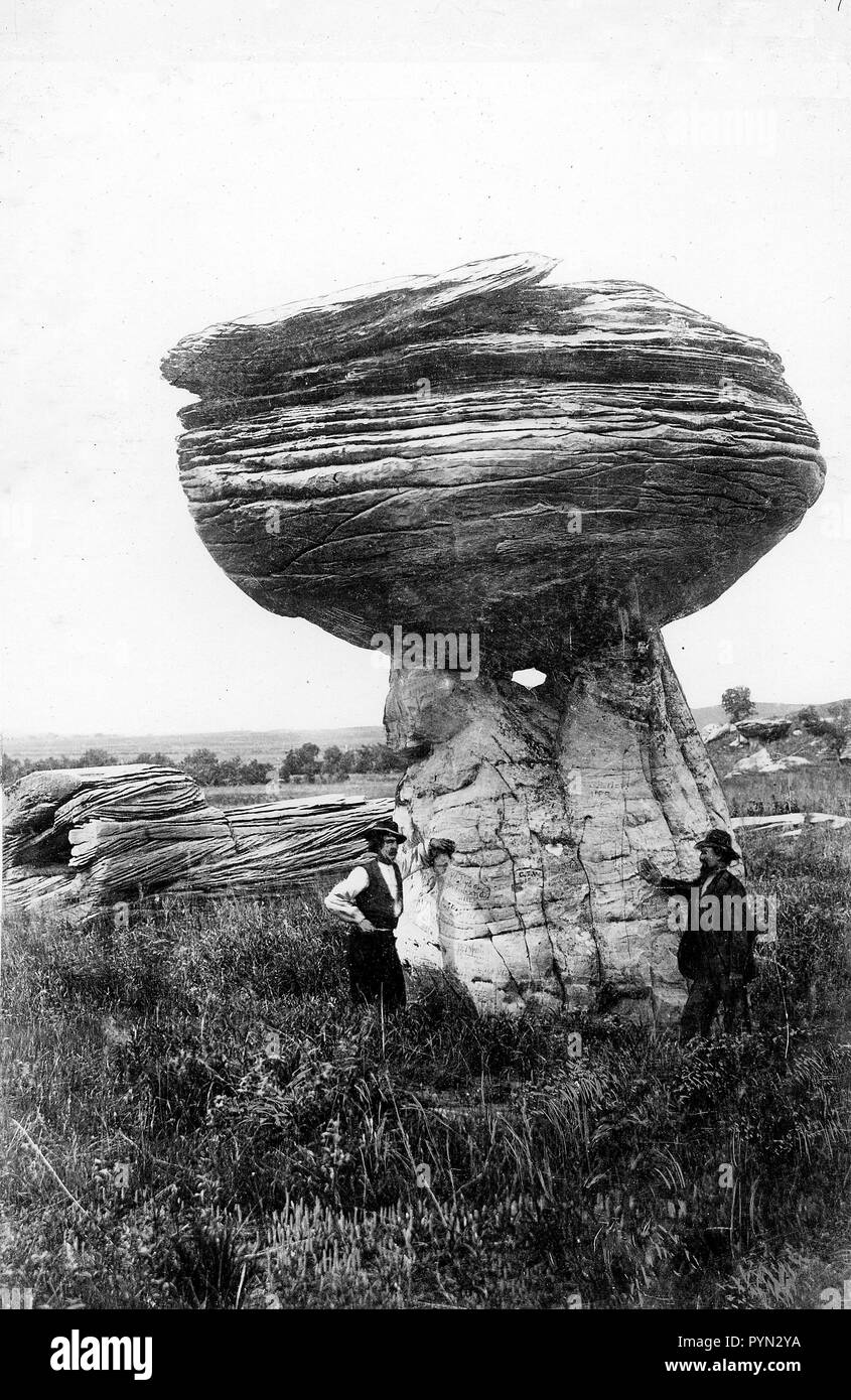photo from 1916 of Pulpit rock near Alum Creek south of Carneiro, in Ellsworth County, Kansas - Stock Image