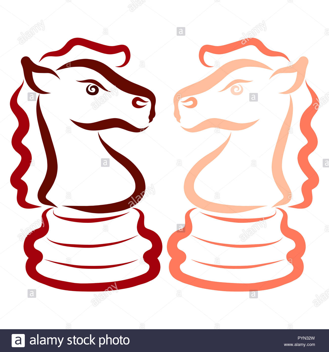 Two horses, chess pieces, knights, opponents, intellectual game - Stock Image