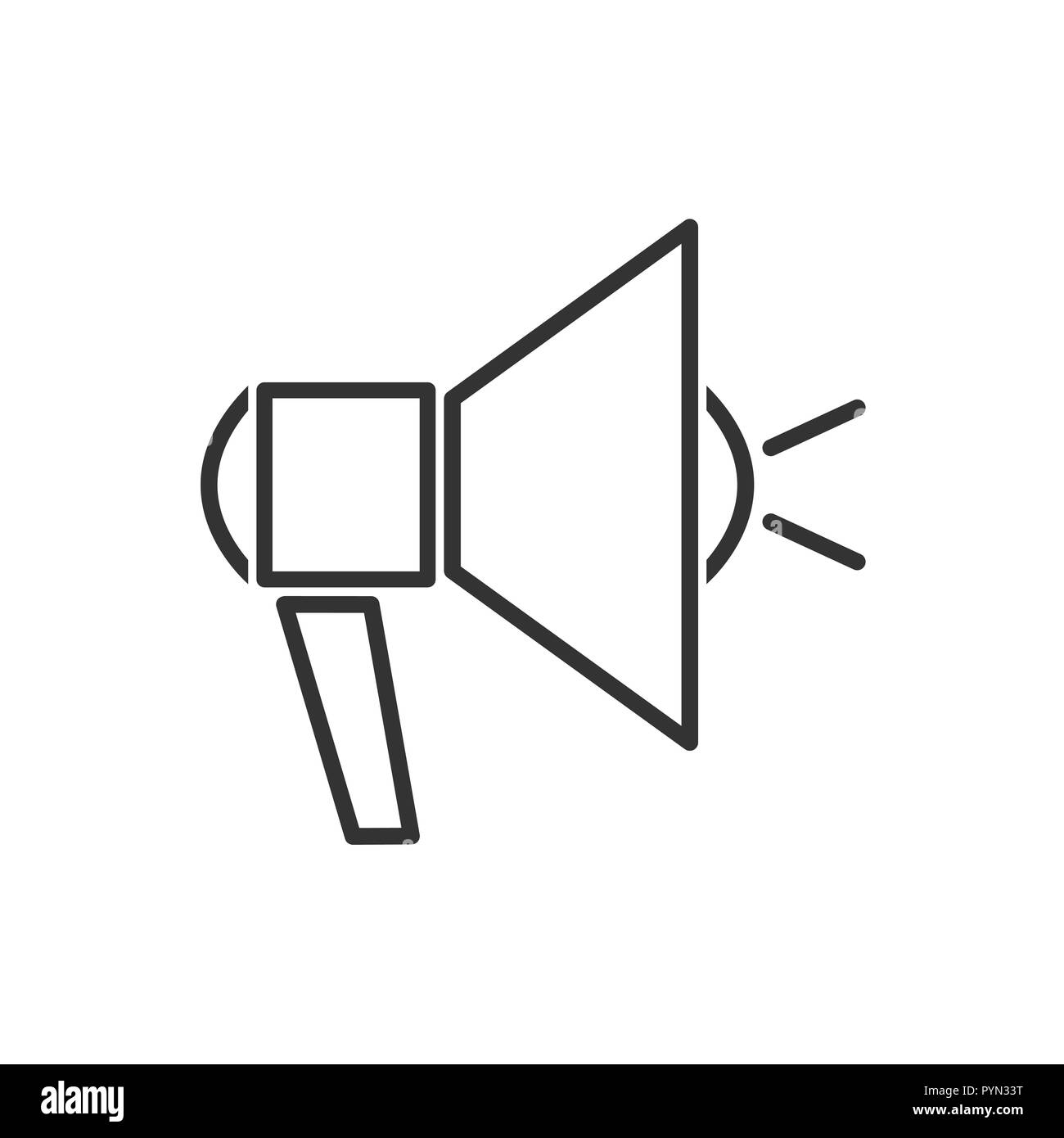 Megaphone line icon on a white background. Vector illustration - Stock Image