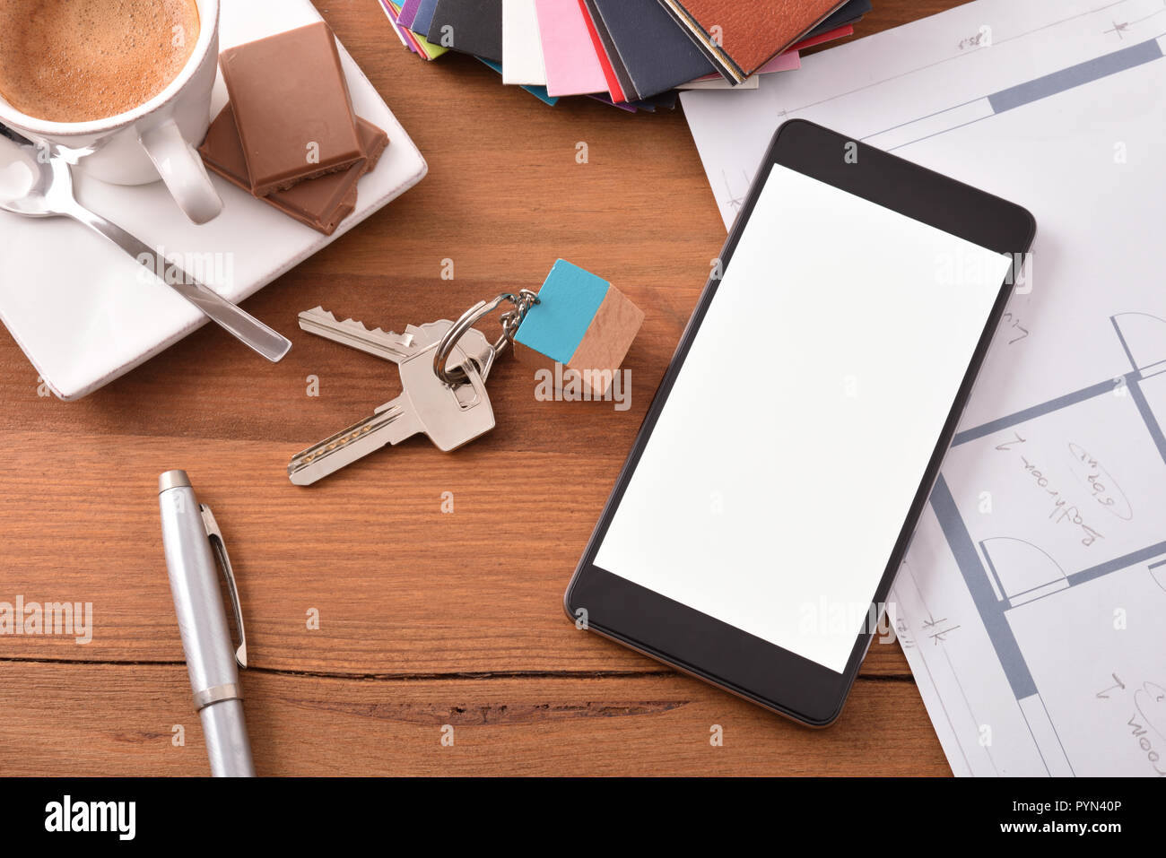 Smartphone in an architect's office  Concept of the