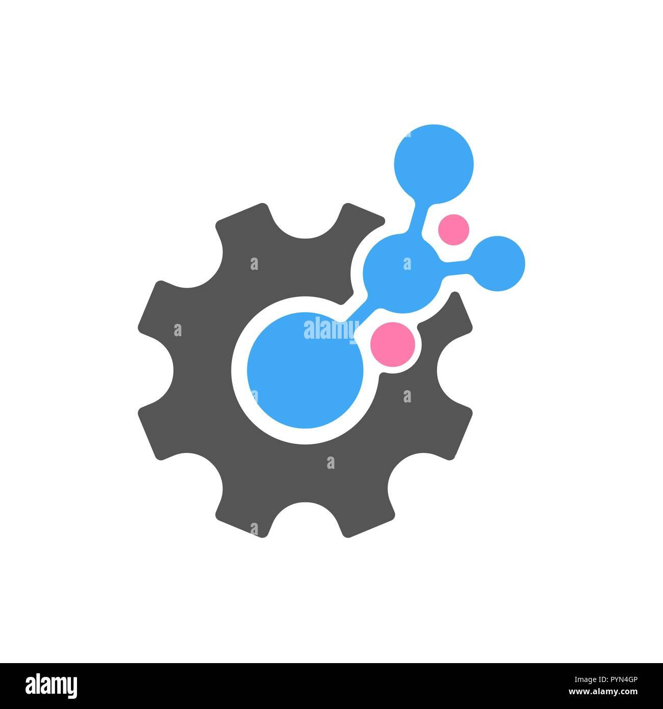 Techno Gear Logo Template Design. Vector. EPS 10 - Stock Vector