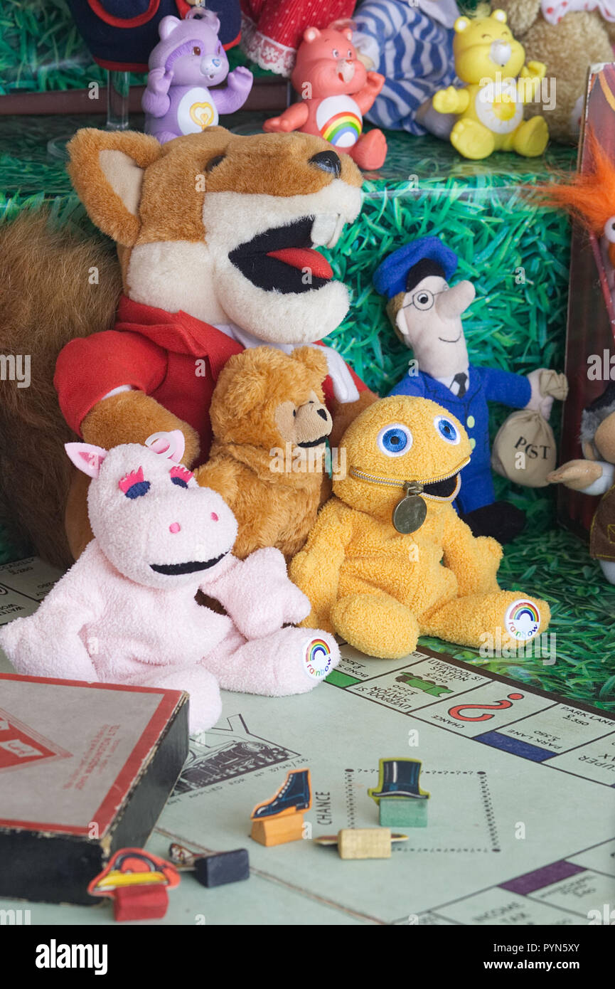 Vintage board game and vintage toys on a market stall Stock Photo