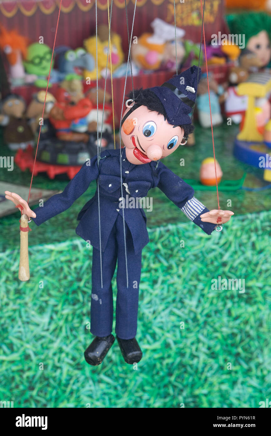 vintage Policeman, wooden puppet - Stock Image