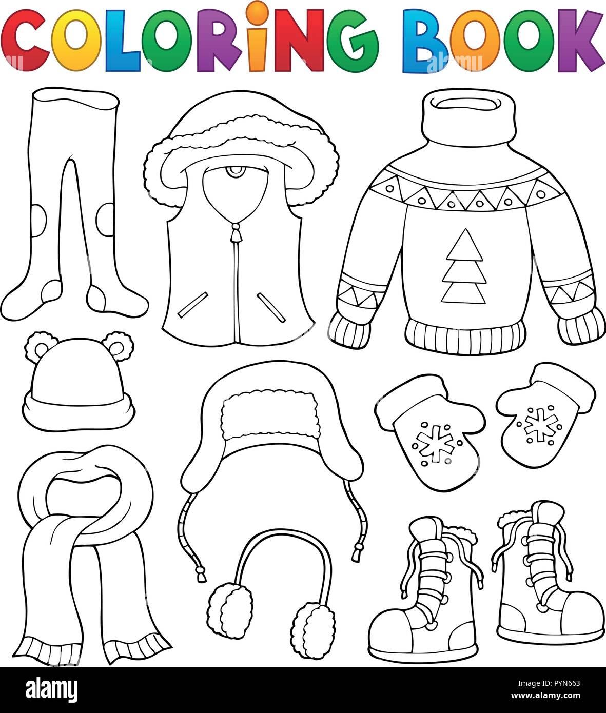 d7b69d131fb4 Coloring book winter clothes topic set 2 - eps10 vector illustration ...