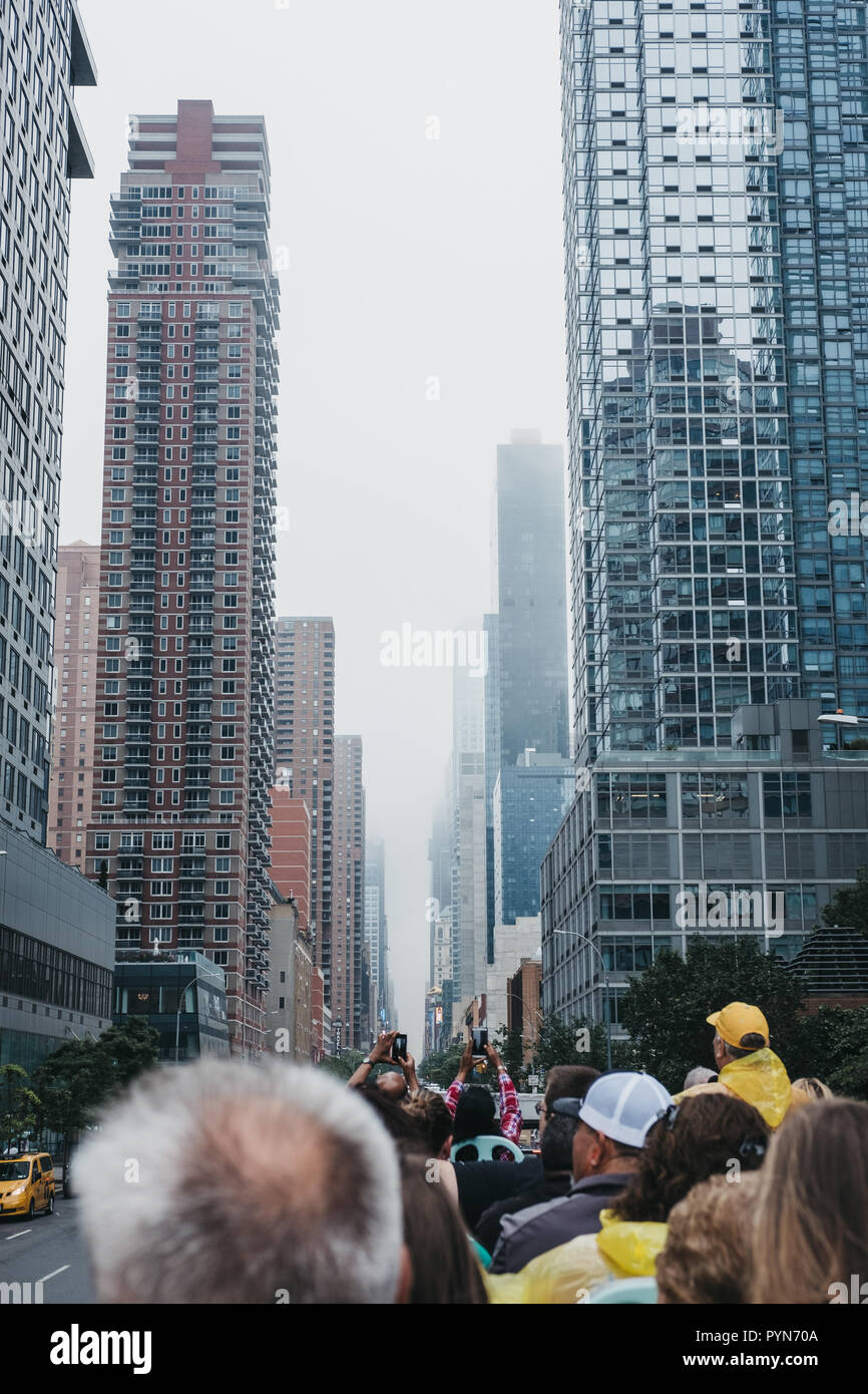 New York, USA - May 31, 2018: View of 42nd Street from the top of tourist bus. West 42nd Street is a major crosstown street in the Manhattan, known fo - Stock Image