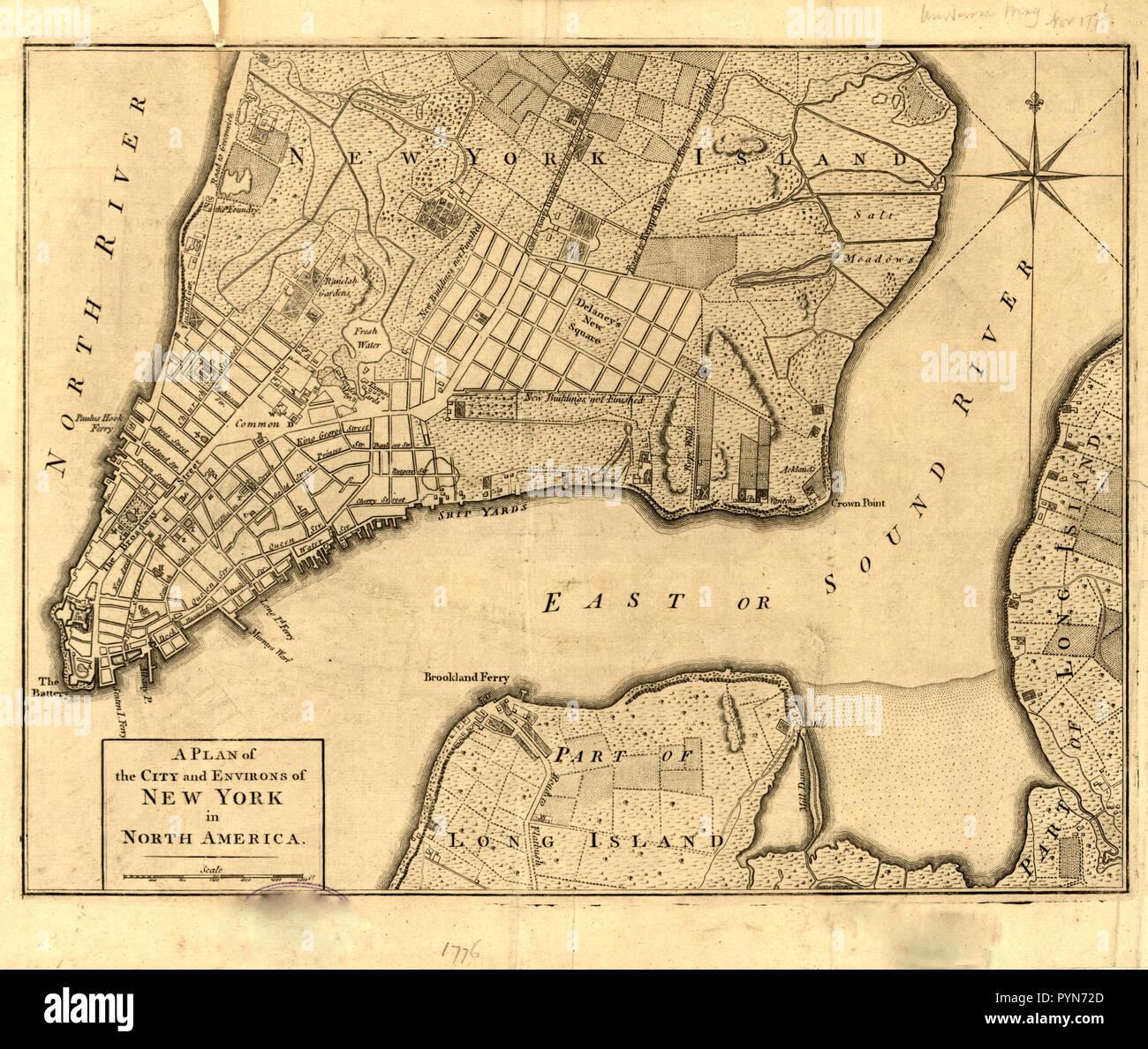 Vintage Maps / Antique Maps - New York City map ca. 1776 Stock Photo - Alamy