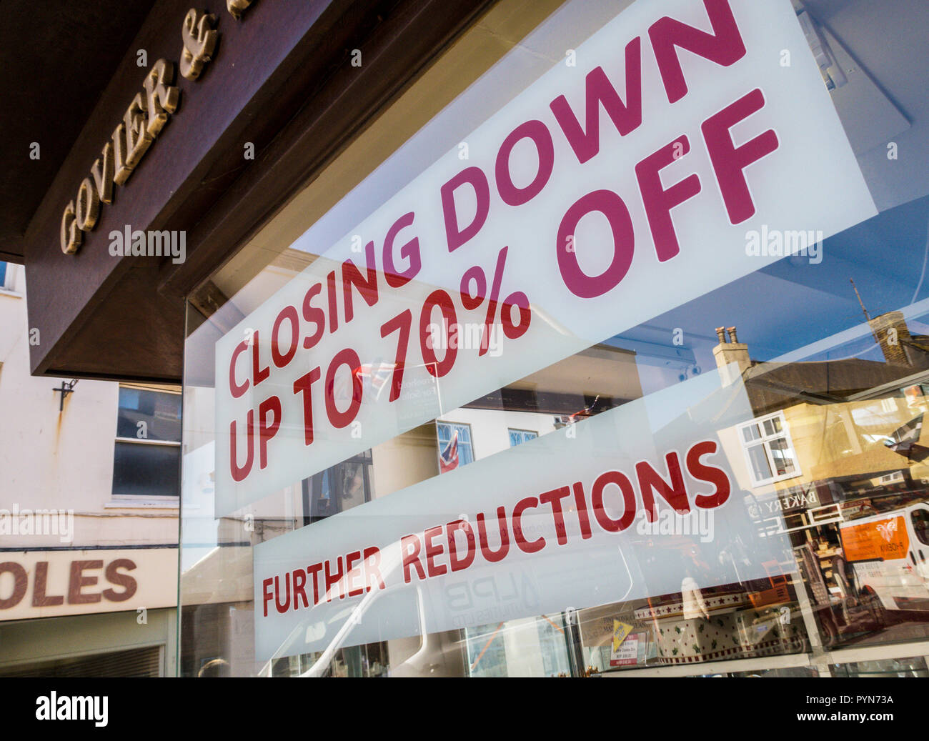 Retail closures across the UK, with closing down sales as at the famous independent Goviers store in Sidmouth. - Stock Image