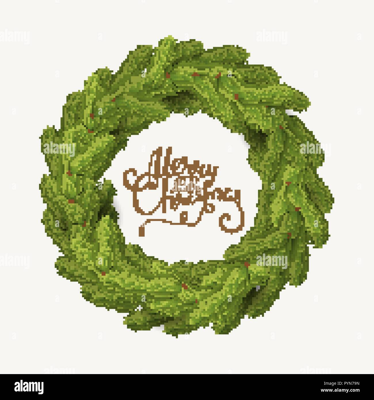 Christmas Wreath Vector.White Card With Christmas Wreath Vector Illustration Stock