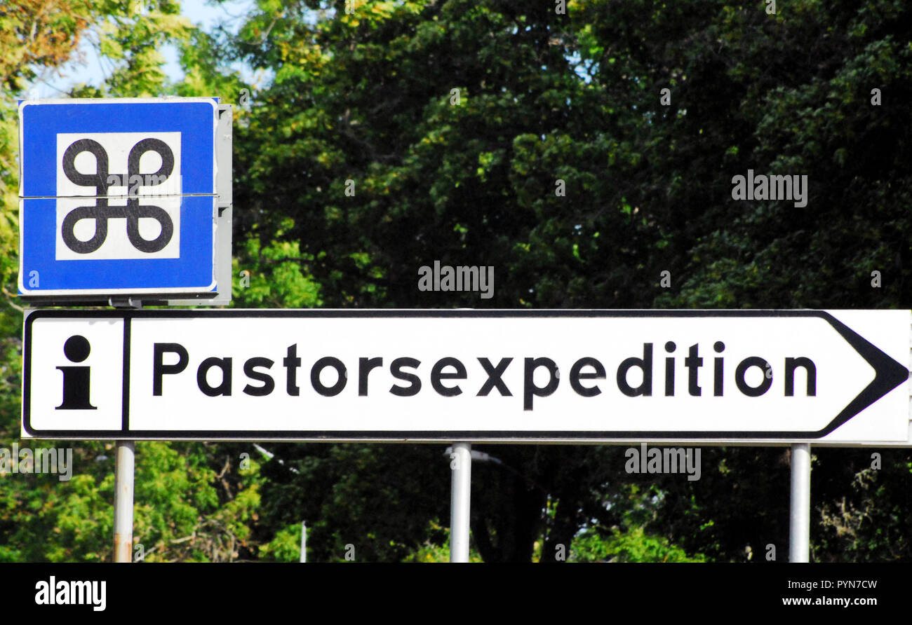 Sign in front of a Swedish church says pastorsexhibition. It could be bizarre or funny, but it certainly is unique. - Stock Image