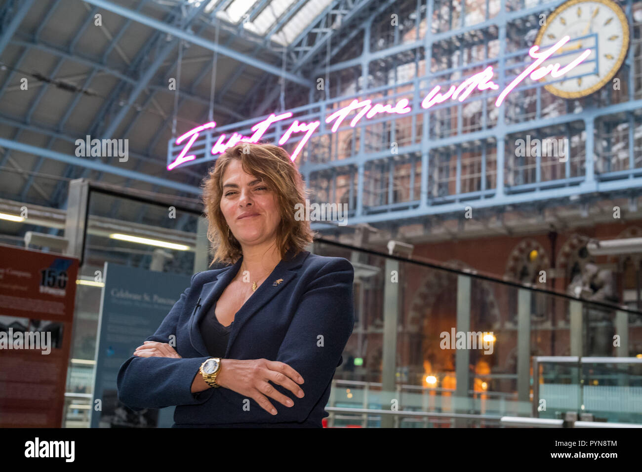 Tracey Emin Unveils 2018 Terrace Wires art commission at St Pancras International: Stock Photo