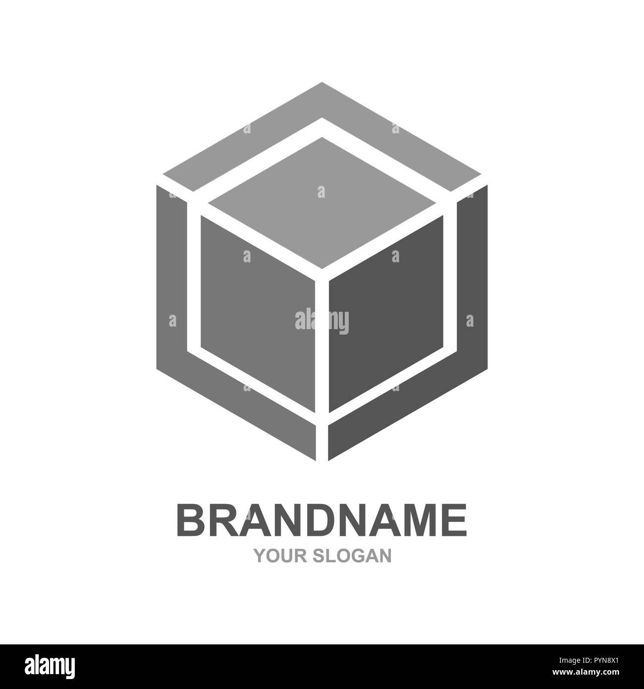 Cube logo design icon vector outbox. Vector - Stock Image