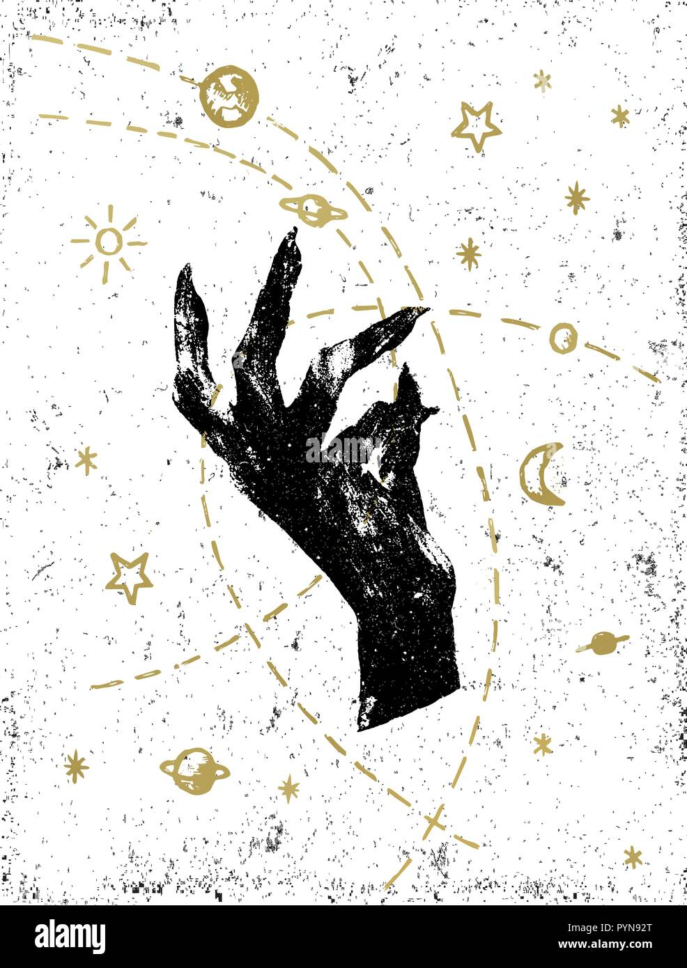 Black witch's hand with symbolic cosmos illustration on white textured background. Tattoo, sticker, patch or poster print design. - Stock Image