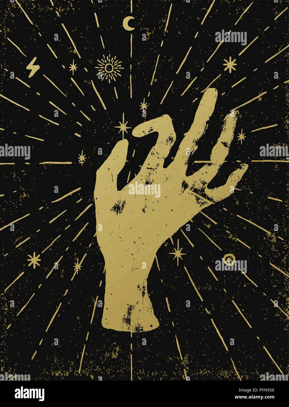 Gold witch's hand with light rays and symbols of the elements of the cosmos. Vector illustration on black textured background. Tattoo, sticker, patch  - Stock Image
