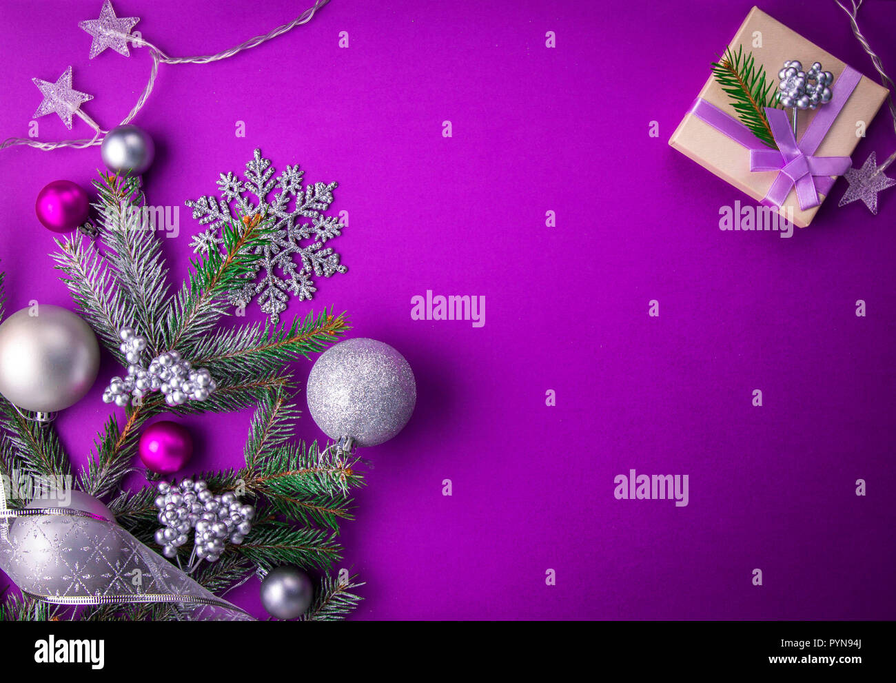 Christmas Purple.Purple Christmas Background With A Gift Fir Tree Toys And