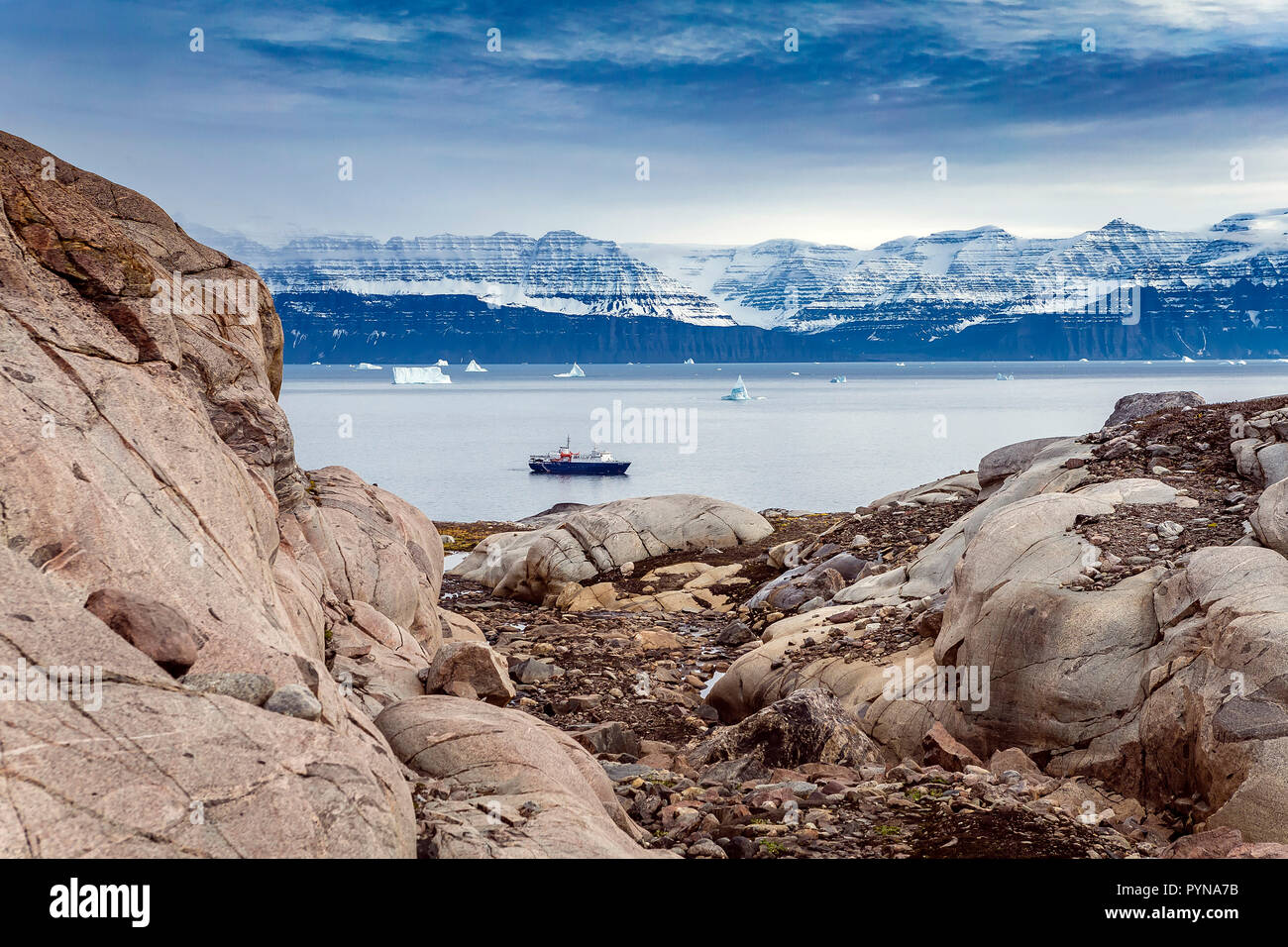Expeditions ship MS Ortelius at a fjord, Greenland, North polar ocean, Arctic - Stock Image