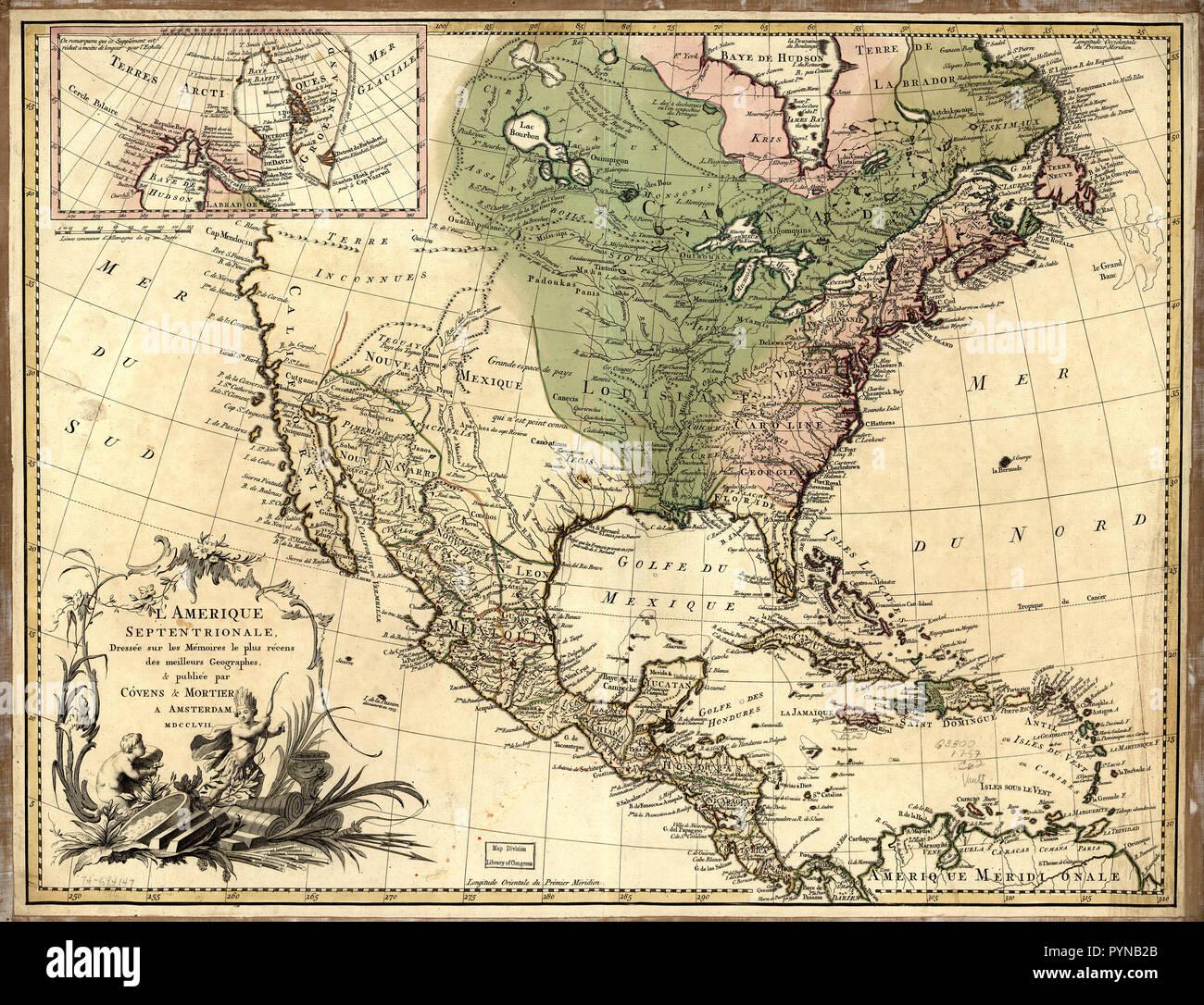 Antique Map Of North America.Vintage Maps Antique Maps L Amerique Septentrionale North
