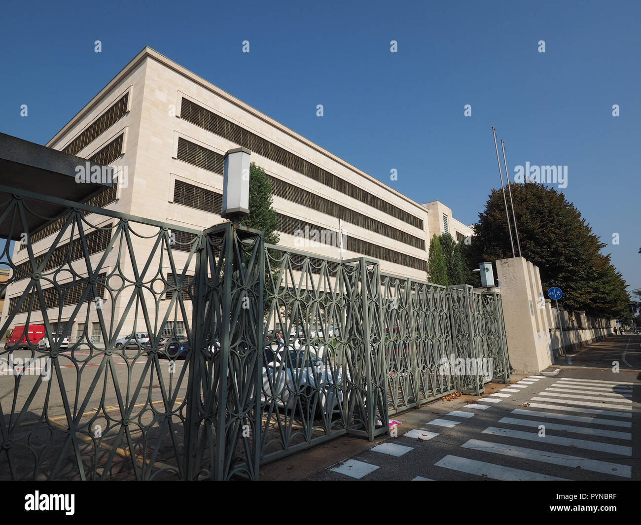 TURIN, ITALY - CIRCA SEPTEMBER 2018: Fiat Chrysler Automobiles (FCA) Mirafiori car factory for Fiat, Lancia, Alfa Romeo, Jeep and Abarth brands - Stock Image