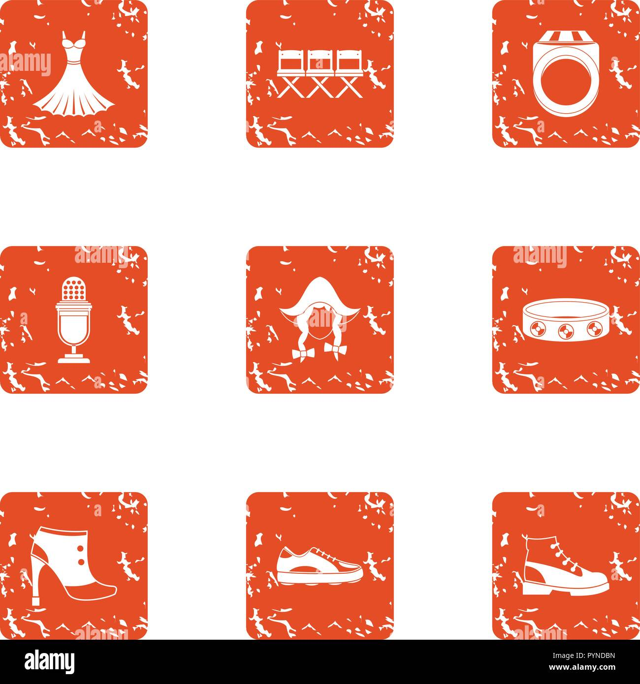 German show icons set, grunge style Stock Vector