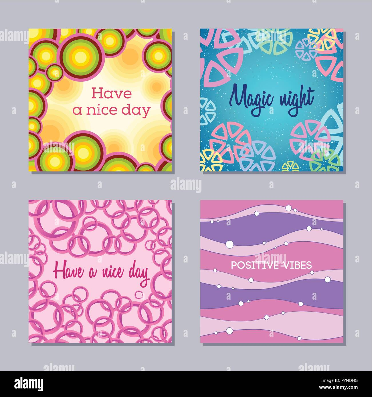 Set Of 4 Creative Card Templates Abstract Backgrounds Applicable