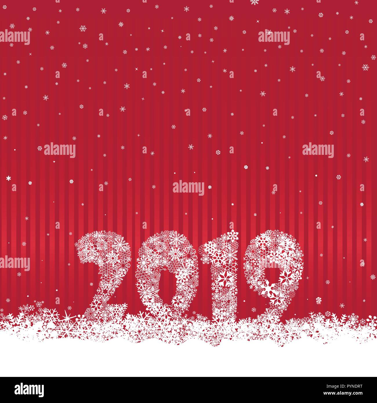 happy new year 2019 snow winter holiday red background christmas greeting card with lettering