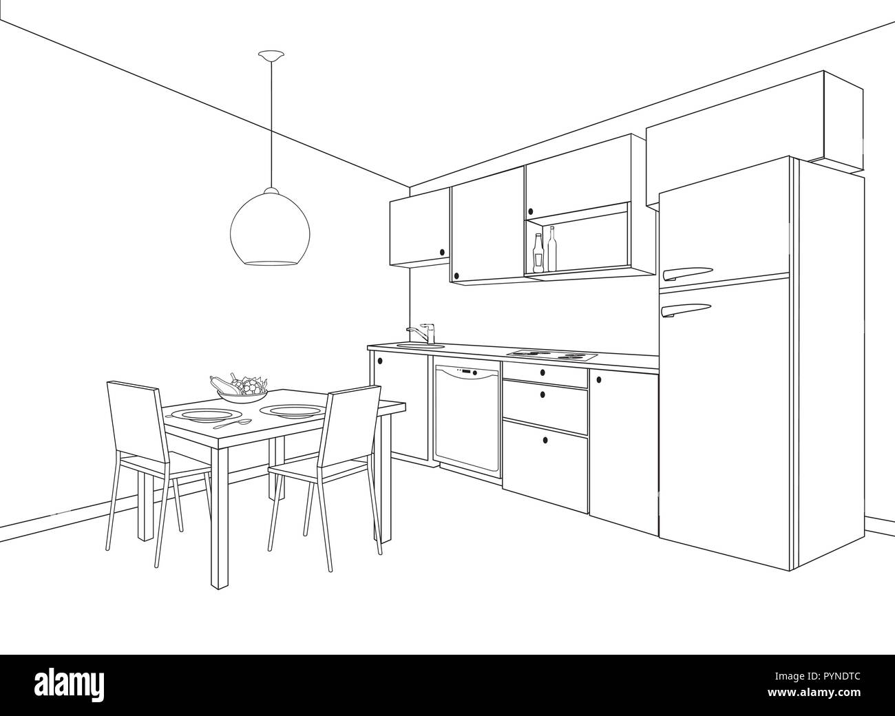 Interior Sketch Of Kitchen Room Outline Blueprint Design Of Kitchen