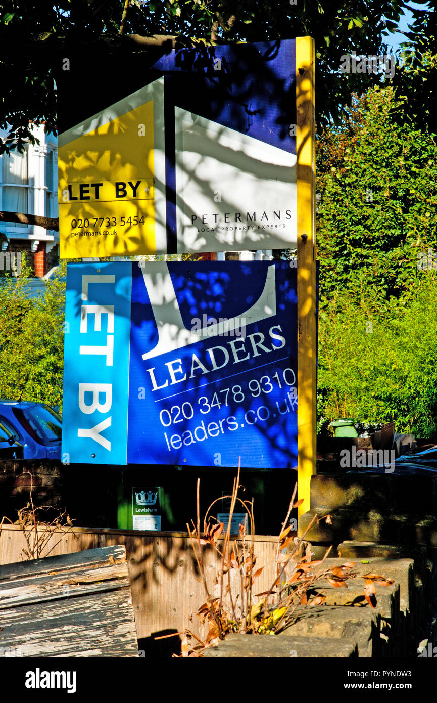 Let By, Letting agents signs, Bromley road, Catford, Borough of Lewisham, London, england - Stock Image