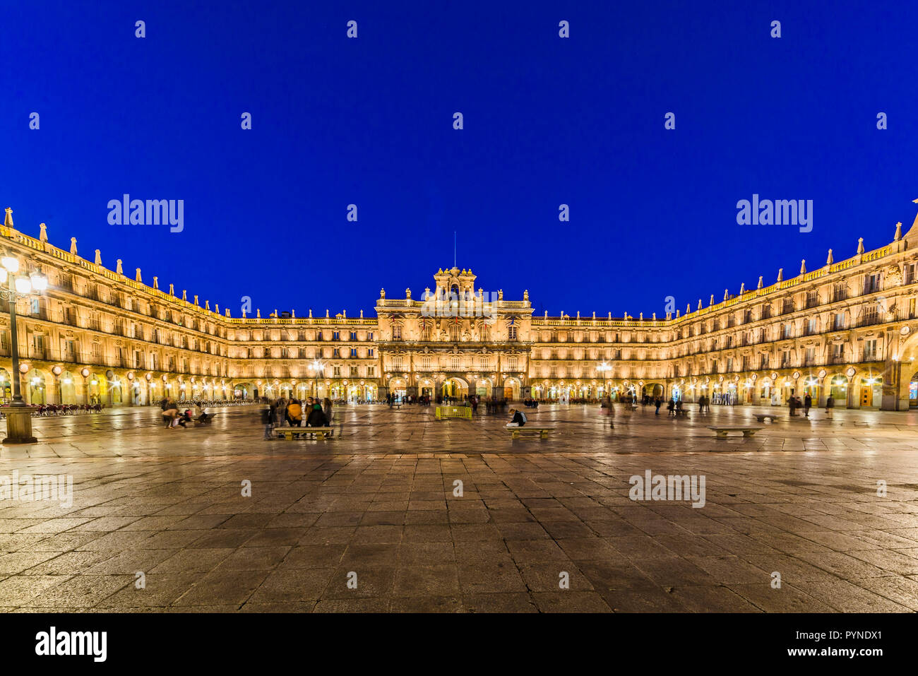 The Plaza Mayor, Main Square, in Salamanca, Spain, is a large plaza located in the center of Salamanca, used as a public square. It was built in the t - Stock Image