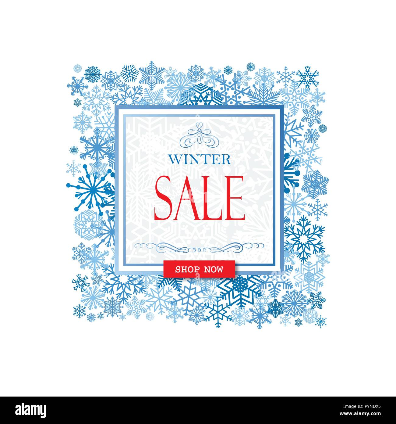 Winter shopping sale banner with lettering. Snow frame background ...