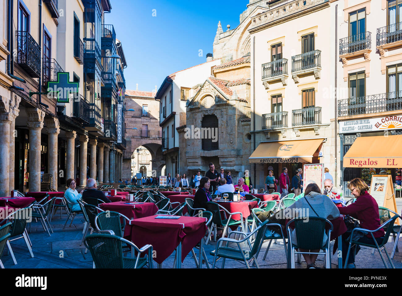 Lively street in the old town of Salamanca, Castilla y Leon, Spain, Europe - Stock Image