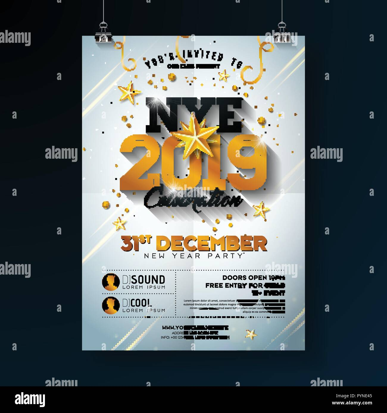 2019 new year party celebration poster template illustration with shiny gold number on white background vector holiday premium invitation flyer or promo