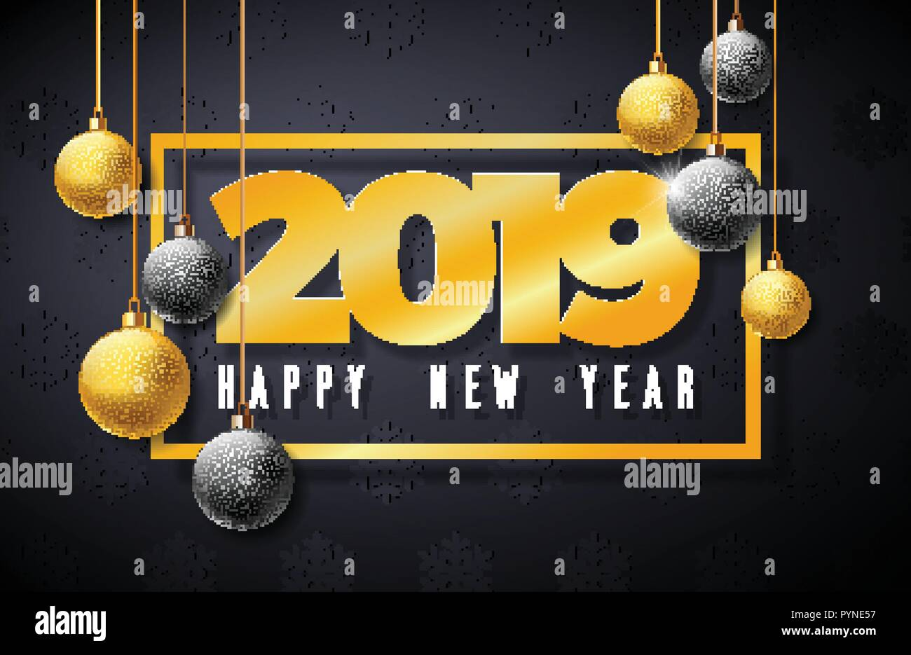 2019 happy new year illustration with gold number and christmas ball on black background holiday design for flyer greeting card banner