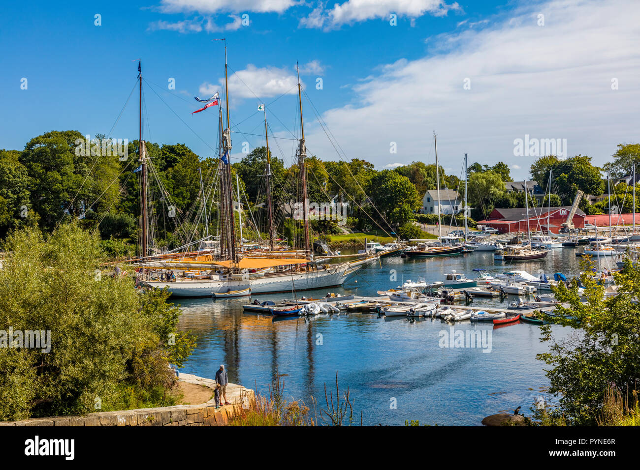 Boats in harbor in Camden Maine in the United States Stock