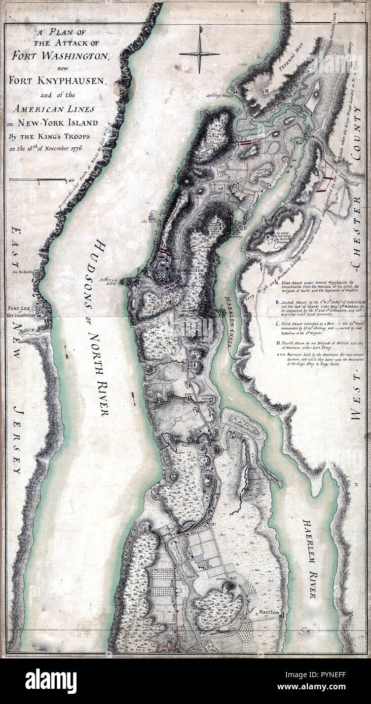 Fort Washington Map.Vintage Maps Antique Maps A Plan Of The Attack Of Fort