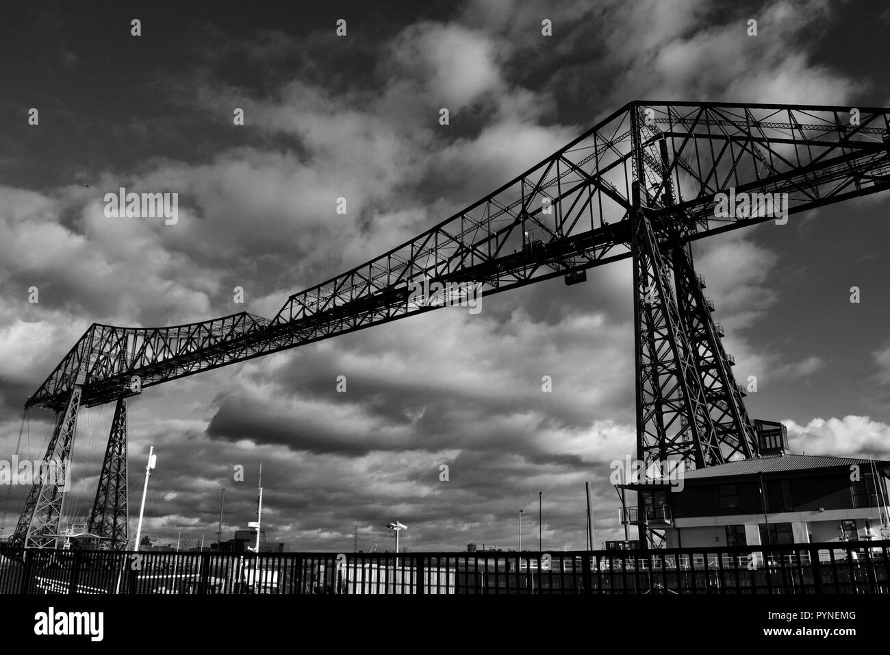 Stunning, moody, black & white image of the stunning Tees Transporter Bridge, Middlesbrough, Cleveland, UK. - Stock Image