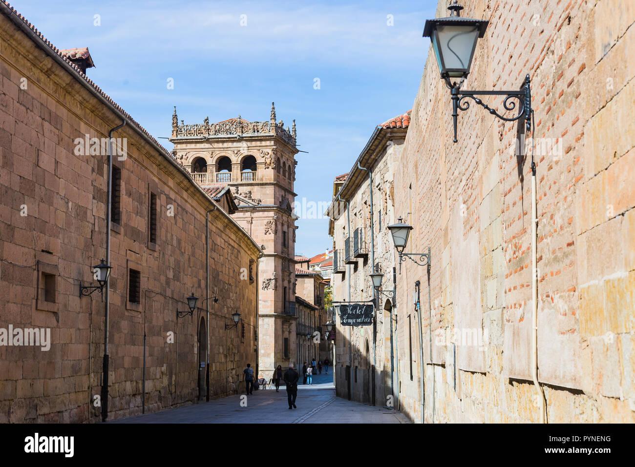 Calle de la Compania and the tower of the Palacio de Monterrey. Salamanca, Castilla y Leon, Spain, Europe Stock Photo