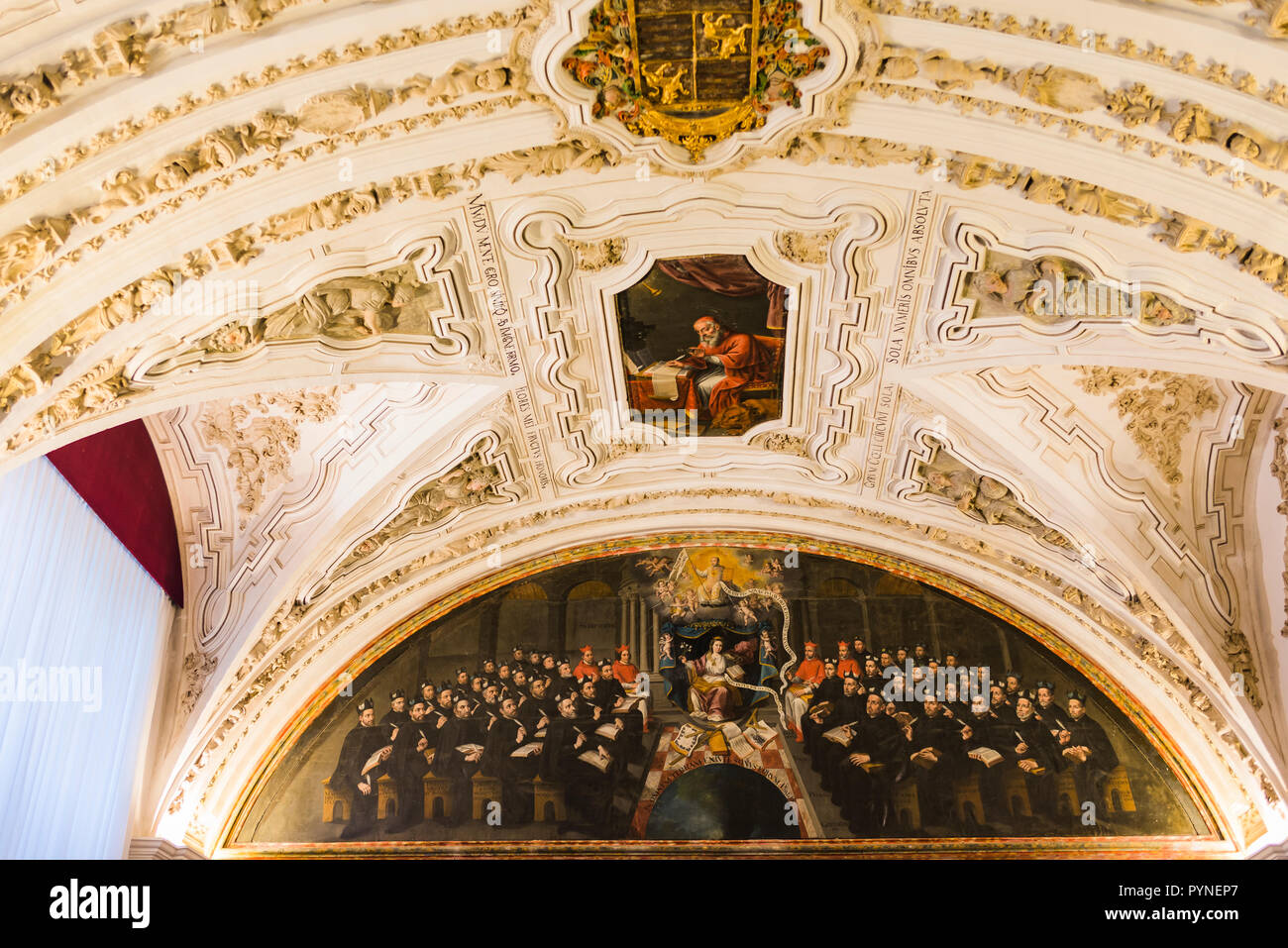 The Pontifical University and the Clerecia Building. Aula Magna. This room was inaugurated by the Jesuits in the 17th century as General of Theology,  - Stock Image