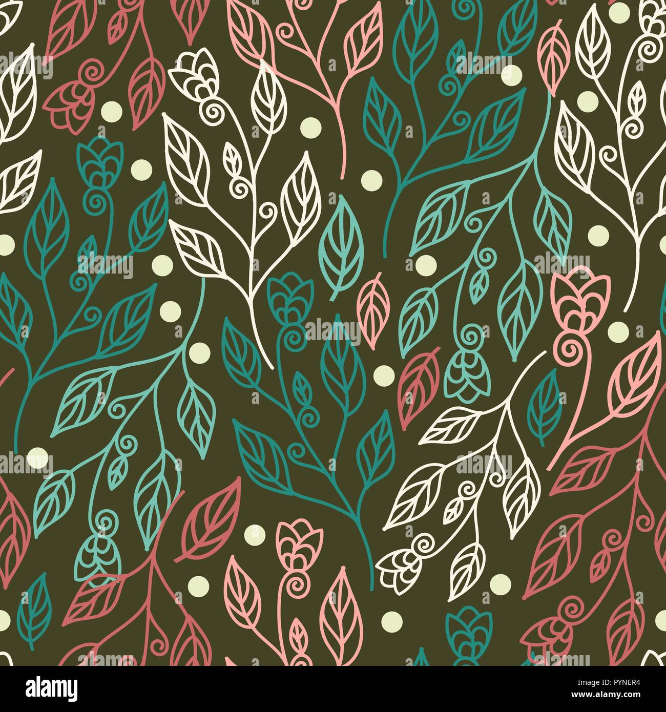 Floral Seamless Pattern With Leaves And Beautiful Flowers