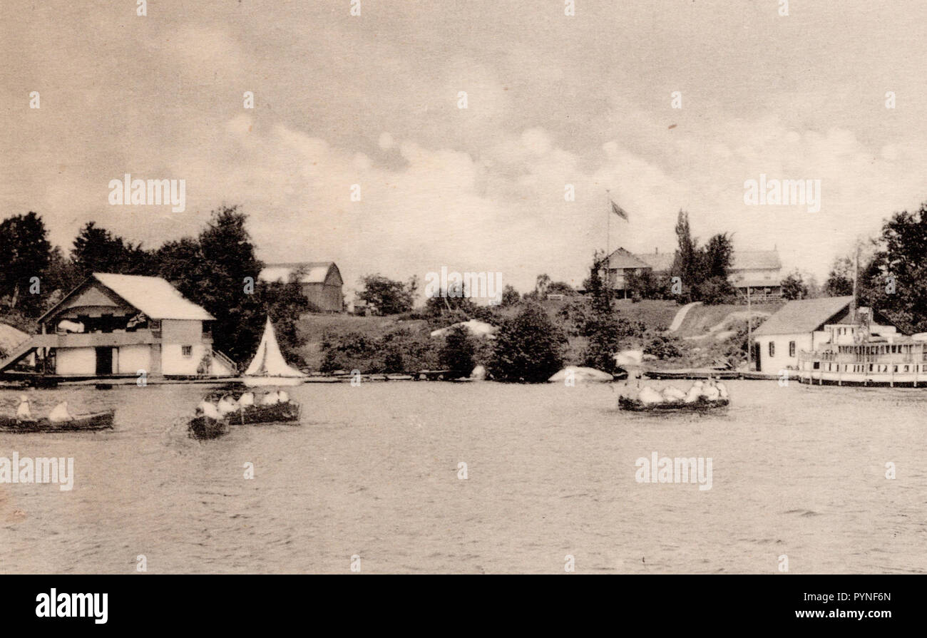 Hutton House, from the Lake, Muskoka Ontario, vintage postcard - Stock Image