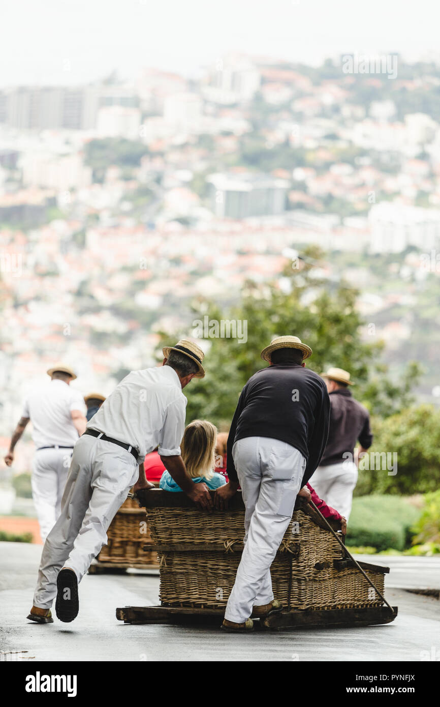 Traditional Downhill Sledge Trip On Monte In Madeira Island