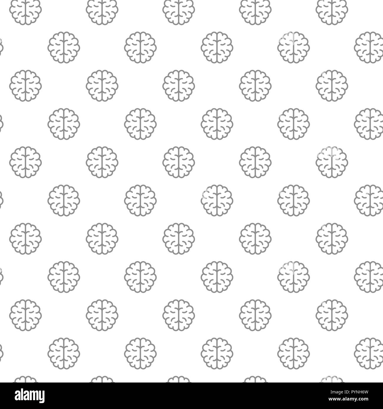 Unique brain seamless pattern with various icons and symbols on white background flat illustration - Stock Image