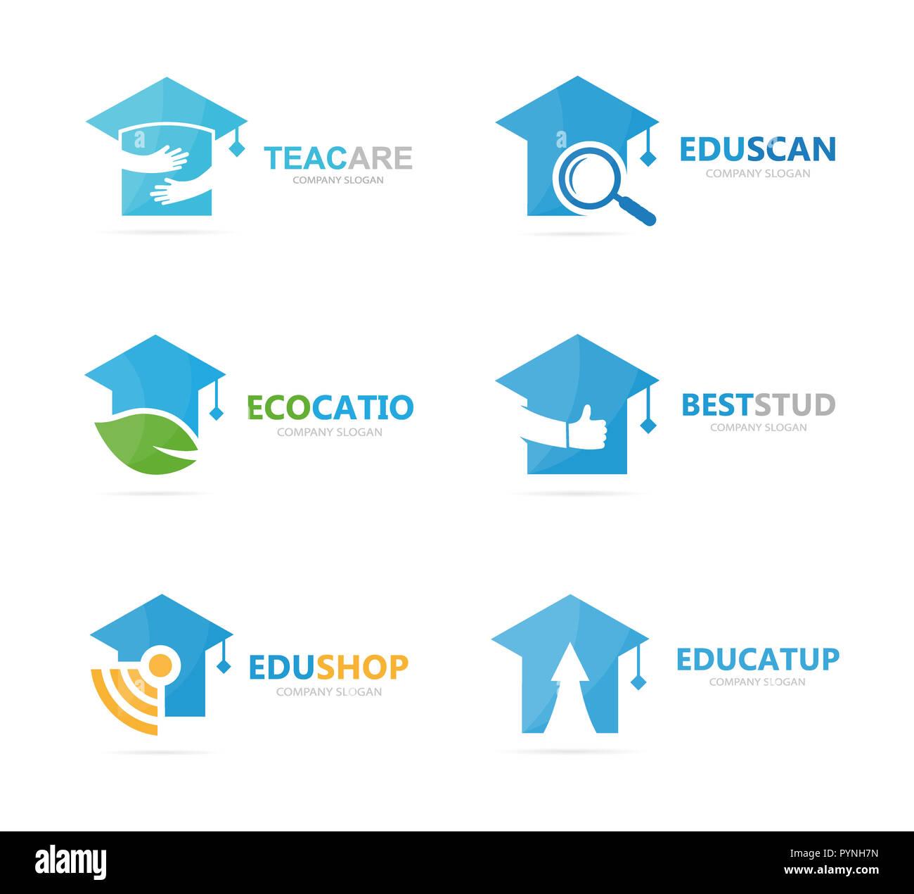 Set of graduate hat logo combination. School and college symbol or icon. Unique study and education logotype design template. - Stock Image