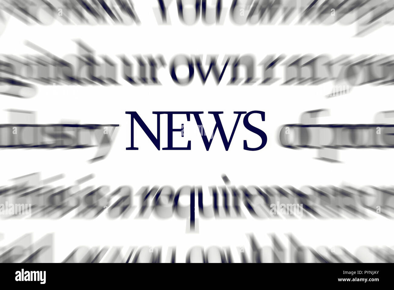 The word NEWS with dynamic blur attracting attention - Stock Image