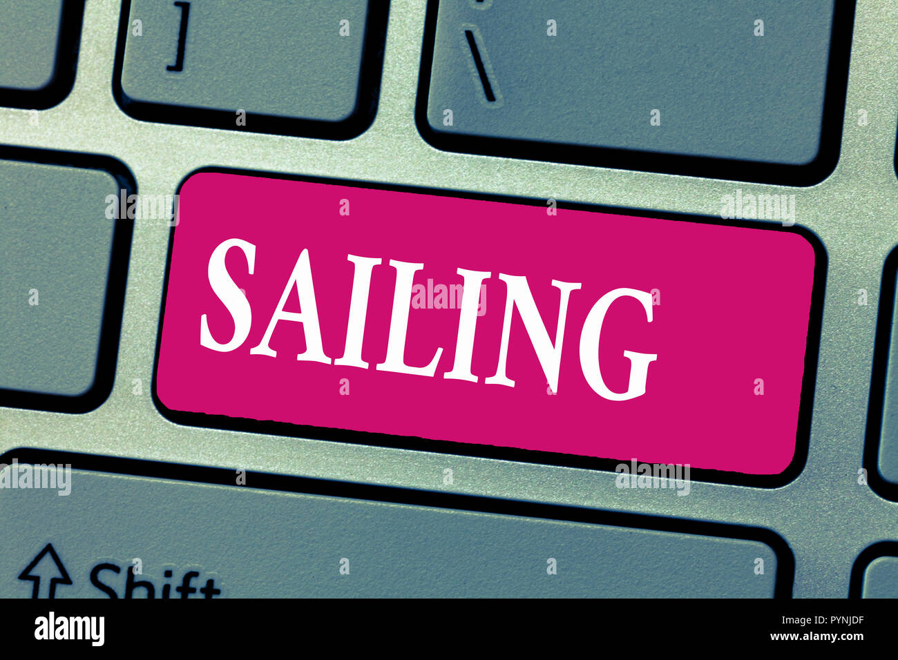Word writing text Sailing. Business concept for Action of sail in ship or boat Sport Travel Nautical adventure. Stock Photo