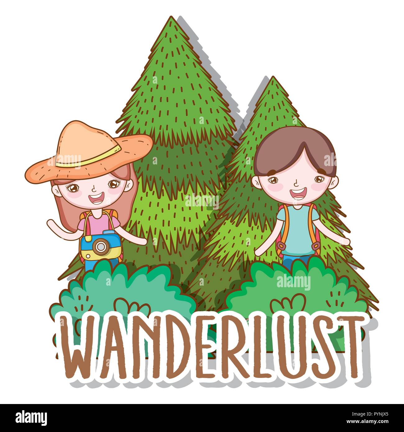 girl and boy with pine trees adventure - Stock Image