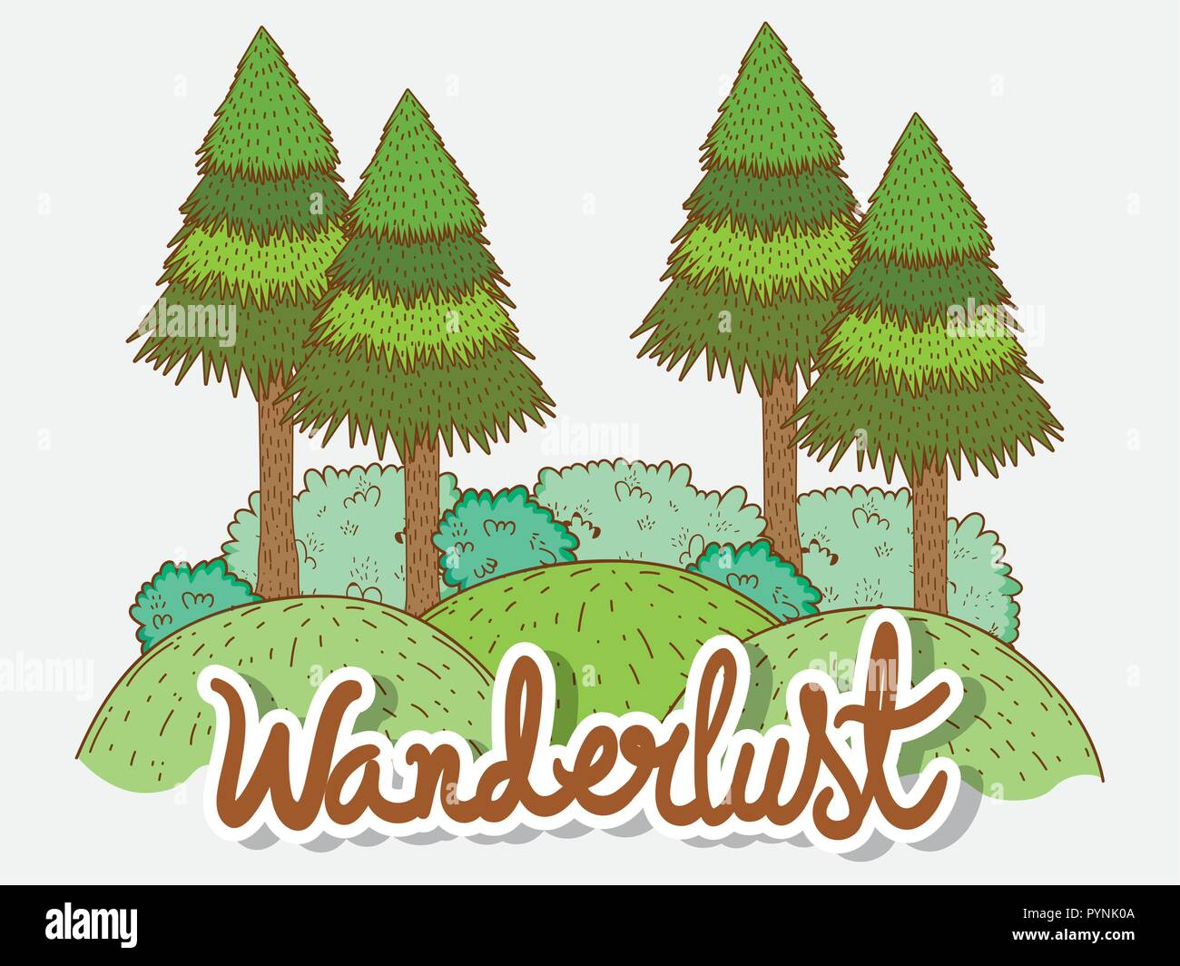 mountains and pine trees with bushes nature adventure - Stock Vector