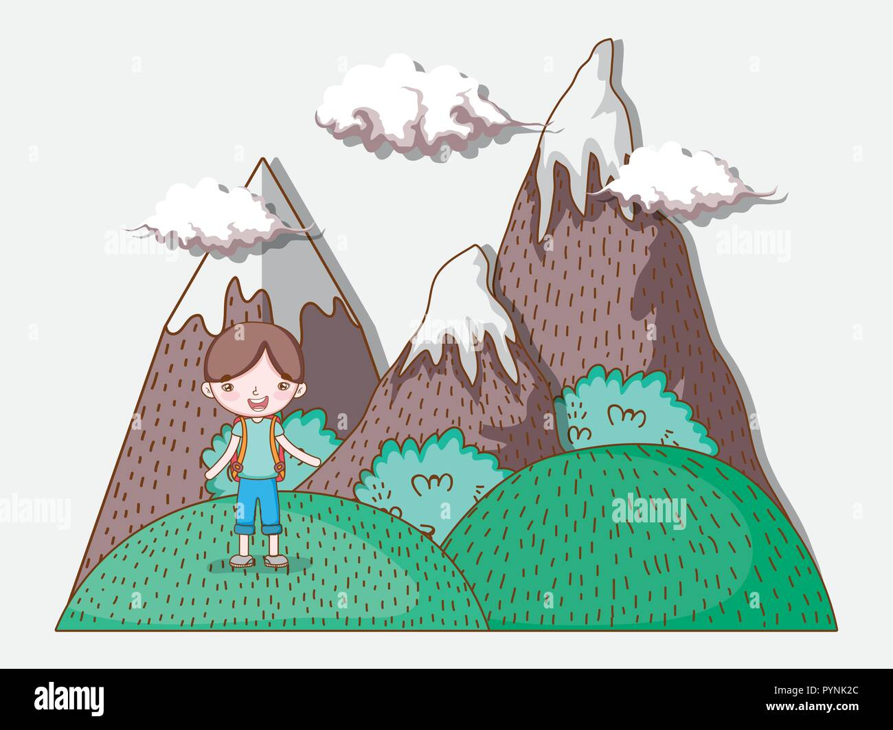 boy in the mountains with clouds and nature trees - Stock Vector