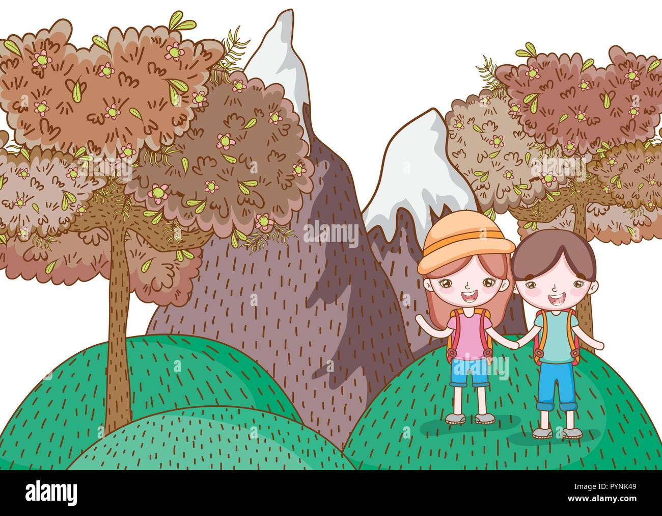 girl and boy in the mountain with nature trees - Stock Vector