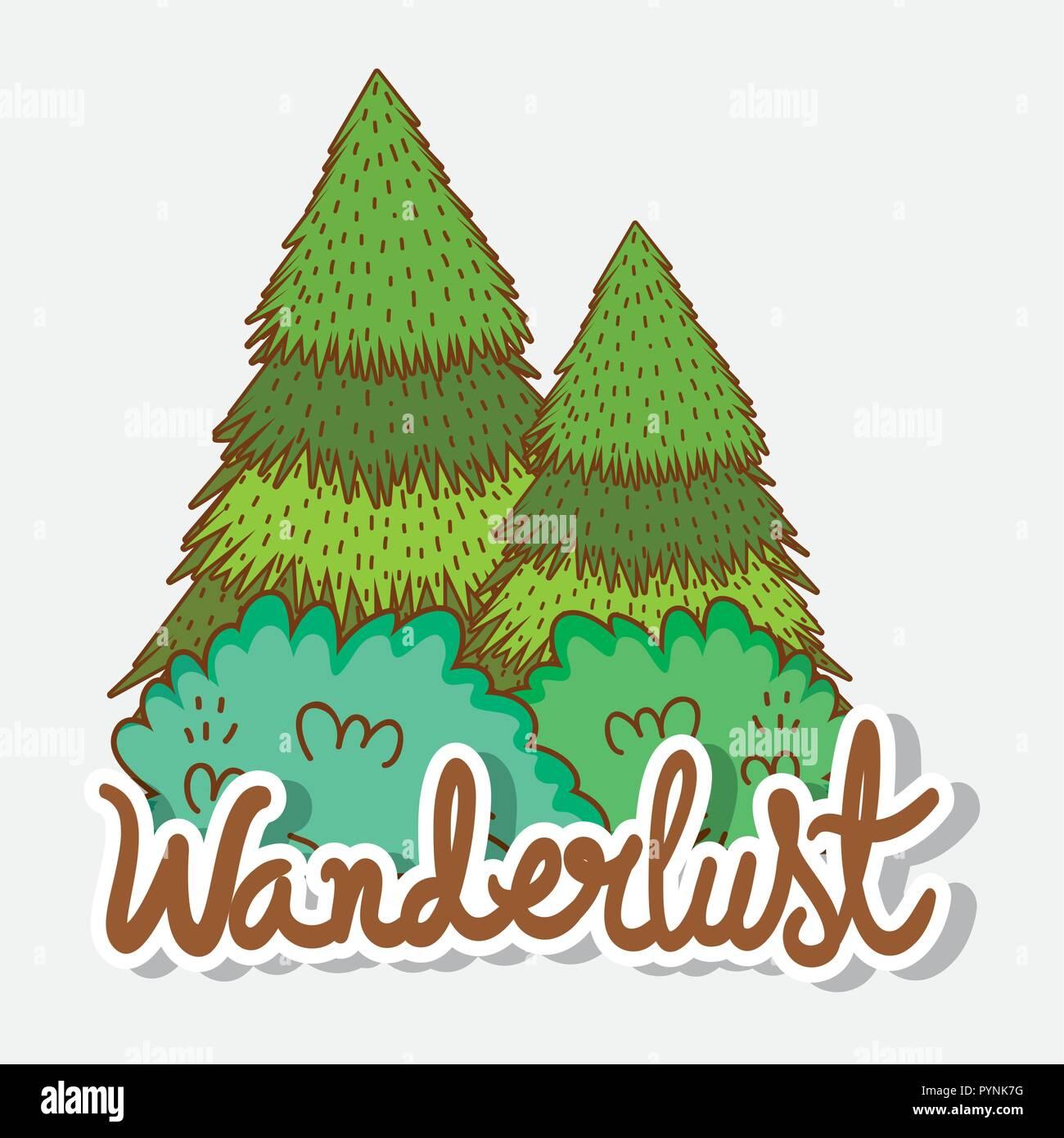 nature trees to wanderlust explore adventure - Stock Vector