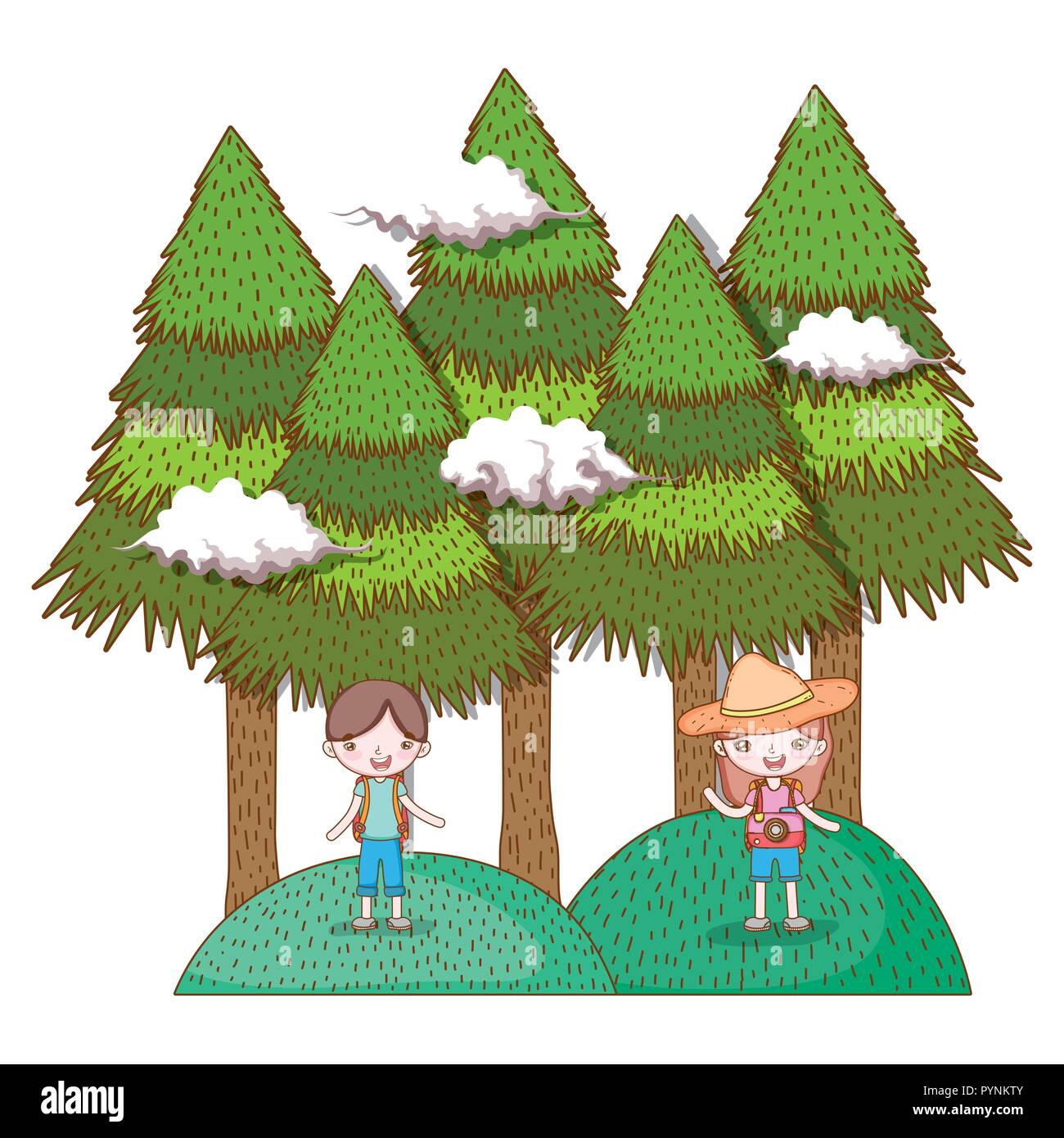 girl and boy in the mountains with pine trees - Stock Image