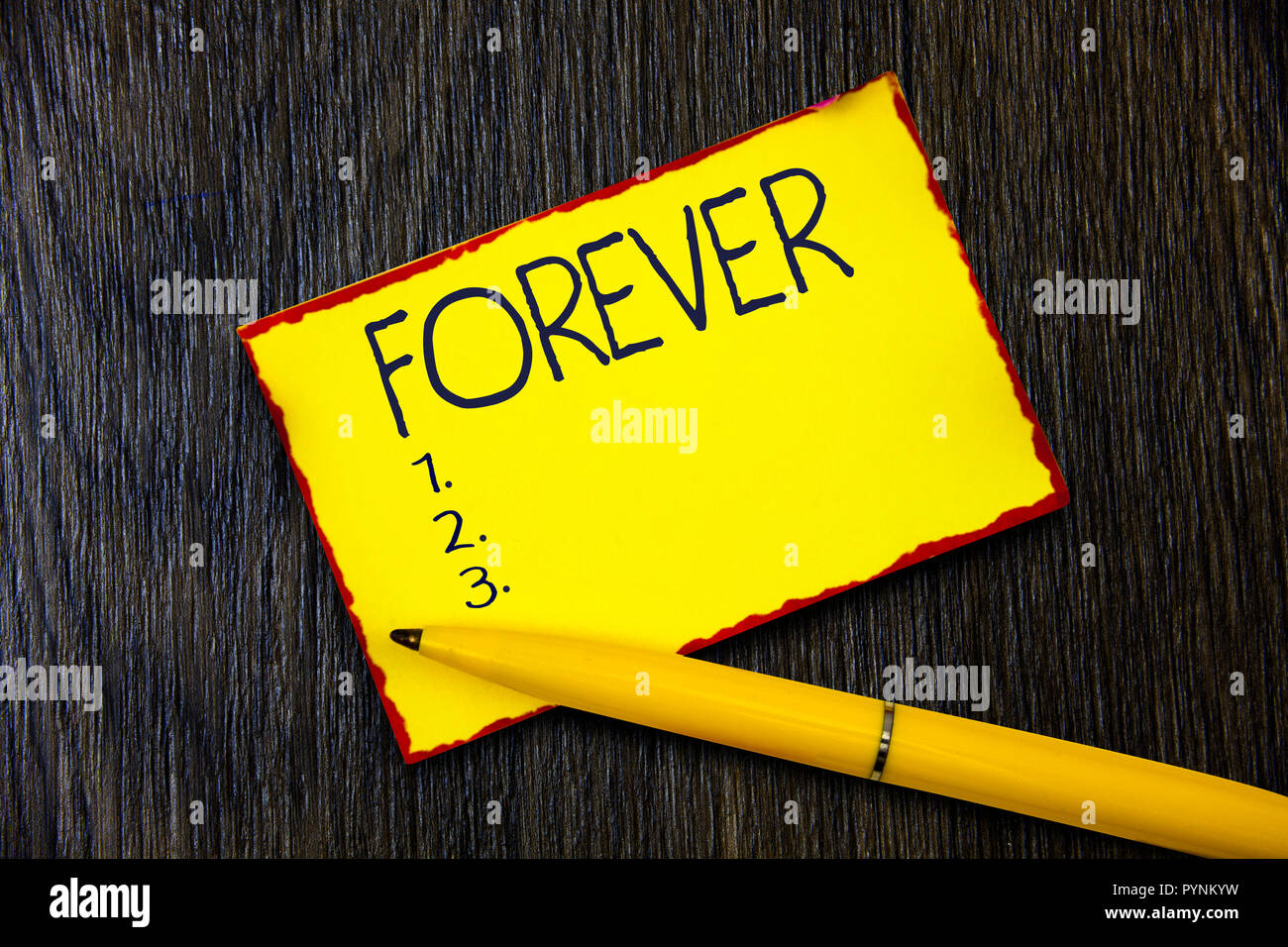 Handwriting text writing Forever. Concept meaning Everlasting Peranalysisent Always for future time endless Eternal. - Stock Image